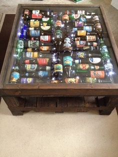 Beer Bottle Coffee Table With LED lights Garage, ideas, man cave, workshop, organization, organize, home, house, indoor, storage, woodwork, design, tool, mechanic, auto, shelving, car.