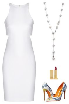 Classy White Look with hint of edgy! by DearMissJ! featuring Elizabeth and James, Dolce&Gabbana and Lipstick Queen