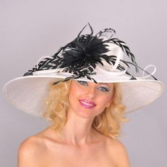 "White/Black XLarge Brim Kentucky Derby Hat...Just add the ""little black dress"""