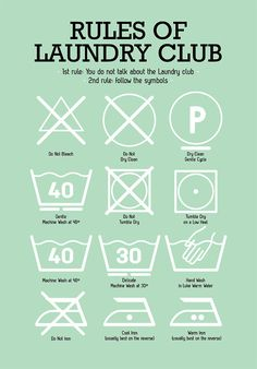 Laundry Room Poster with Laundry Pictograms in by PeanutoakPrint