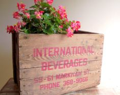 Wood Crate / Wooden Box / Industrial Decor / Vintage Primitive Rustic / Storage Container Planter / Advertising Box