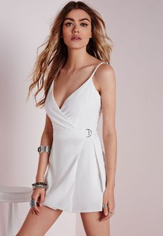 2a01426b386f Missguided - D-Ring Skort Playsuit White White Skort, White Playsuit,  Playsuits Uk