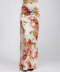 Another great find on #zulily! Pink Floral Maxi Skirt - Women #zulilyfinds
