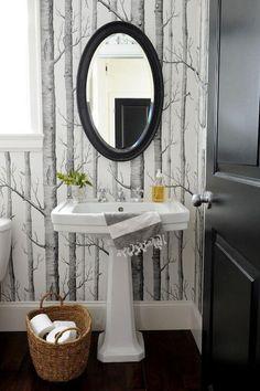 Forest Mural Monochrome Bathroom Wallpaper - Interior Design Ideas