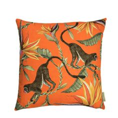 100% Cotton Ardmore cushion in Monkey Paradise design, flame colour.