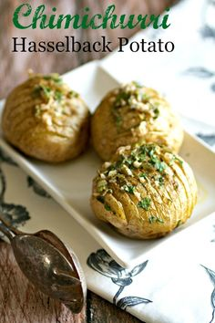 Chimichurri Hasselback Potatoes - The beloved hasselback potato is covered in a garlicky chimichurri sauce and makes a healthy, easy side dish or as a vegetarian main dish!