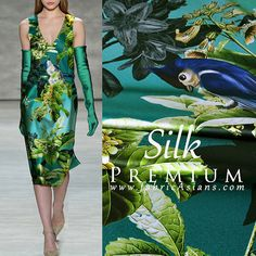 "Green blue Silk Fabric. 30 Mumi Premium Silk fabric with Tropical design by fabricAsians.com 44"" wide"