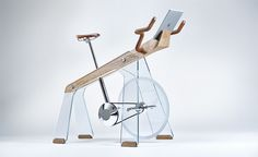 'Freeride' by Adriano Design, is a modern exercise bike built from glass, wood and steel, that also has a tablet holder for watching cycling races. Home Exercise Bike, Bicycle Workout, Verre Design, Futuristic Home, Velo Vintage, Appartement Design, Art Diy, Milan Design, Cycling Art
