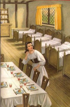 Snow White And The Seven Dwarfs - seven beds and a table laid for seven