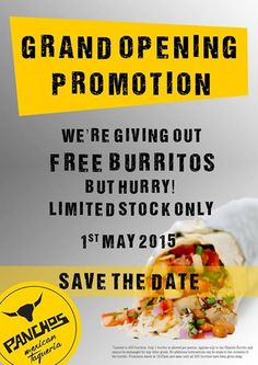 1 May 2015: Panchos Grand Opening Promotion
