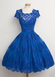 Ball Gown Square Knee-Length Royal Blue Lace Homecoming Dress