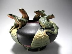 Small Five Lizard Bowl by nancyadamsclayartist on Etsy, $195.00