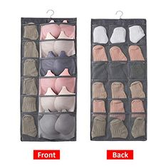Aoolife 30 Mesh Pockets Hanging Storage Organiser with Metal Hanger, Dual-Sided Hanging Closet Organizer for Underwear, Stocking,Bra and Sock (Grey) Clothes Storage Boxes, Bra Storage, Clothes Shelves, Handbag Storage, Linen Storage, Storage Rack, Hanging Storage Pockets, Wall Basket Storage, Hanging Shoe Organizer
