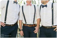 Groomsmen outfits, navy pants, patterned bow ties and suspenders. Wedding at Old Mac Daddy, Elgin. Photos by #ZaraZoo Photography