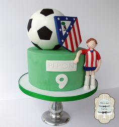 Futbol cake Atletico de Madrid. by #MiraqueTarta