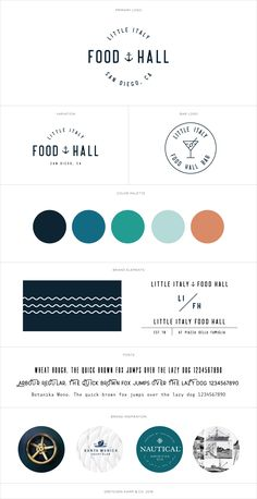 Brand Identity for the Little Italy Food Hall by Grain & Grit Collective Restaurant Group. Designed by branding specialist Gretchen Kamp who is a freelance graphic web logo designer based in San Diego, CA and Astoria, Queens, New York City. Brand Identity Design, Branding Design, Logo Design, Branding Kit, Graphic Design, Design Design, Brand Guidelines Design, Food Branding, Menu Design