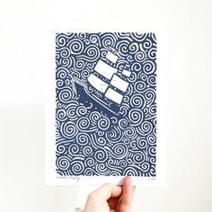 Linogravure Navire - Impression originale avec encre bleu, numérotée et signée via Yamok. Click on the image to see more!