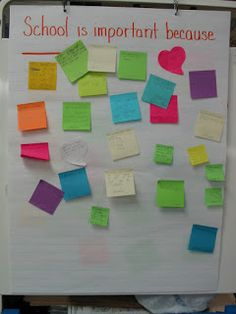 First day of school- post it notes- pose questions to the students--Confessions of a Teaching Junkie: The BEST First Day Ever!