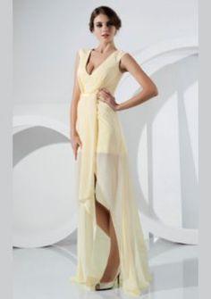 mousseline de soie gaine / colonne v-cou asymétrique courtes robes de bal