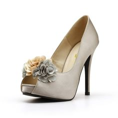 aafd3dbbb5a6 hop for drop dead gorgeous silver sexy fabric flower heels online with Christy  Ng Shoes!