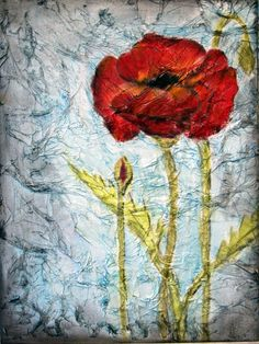 i created these on tissue paper textured backgrounds and the results i think are uber-cool!  the poppy one is done on a 11 x 14 canvas board.