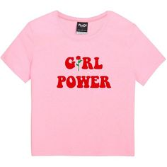 GIRL POWER T-SHIRT ($25) ❤ liked on Polyvore featuring tops, t-shirts, pink tee, babydoll tops, floral tops, pink t shirt and gothic t shirts