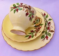 Beautiful yellow Tuscan China tea trio 1955 by LavenderRoseCottage, £15.00