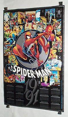 1990/1991 McFarlane Amazing Spider-man/Venom/Hulk Marvel Comics Calendar Poster. 1000's more rare vintage original Marvel and DC Comics superhero posters and color guide colorist's art pages at SUPERVATOR.COM