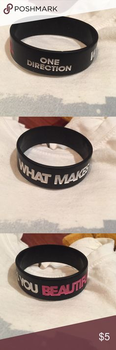 One Direction what makes you beautiful wristband One Direction What Makes You Beautiful hit single black wristband Jewelry Bracelets