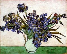 Vase with Irises, 1890 by Vincent van Gogh. Post-Impressionism. flower painting