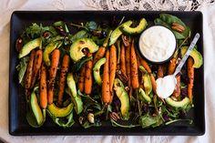 Geroosterde wortel, avokado- en komynslaai met moskonfytslaaisous | huiskok South African Recipes, Asparagus, Vegetables, Salads, Food, Meal, Veggies, Essen, Vegetable Recipes