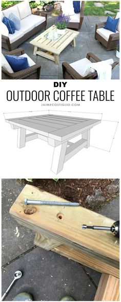 A DIY tutorial to build a truss beam style coffee table. Great for indoors or outdoors this coffee table is solid and sturdy. #freeplans #diyfurniture Coffee Table Plans, Outdoor Coffee Tables, Cool Coffee Tables, Woodworking Projects Diy, Diy Pallet Projects, Woodworking Plans, Wood Projects, Diy Furniture Plans, Furniture Repair