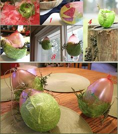 Balloons White glue Jute Paint brushes Green, pink and yellow (or any color)  tissue paper and  Evergreens and acorn tops.  Spread them out and dry.  Blow up the balloons to the size of bowl you want to make. Cut a length of jute and tie it around the end of the balloon. Cut the other colors into smaller pieces. .water down glue Start by wrapping a few pieces of green around th