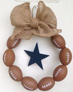 Dallas Cowboys Burlap Football Wreath on Etsy, $45.00