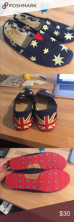 TOMS. Never worn! Union Jack and stars design. Perfect condition! TOMS Shoes Flats & Loafers