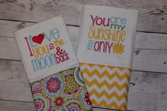 I Love You To The Moon and You Are My Sunshine Burp Cloth-Baby Girl by SweetSouthStitches on Etsy https://www.etsy.com/listing/222927521/i-love-you-to-the-moon-and-you-are-my