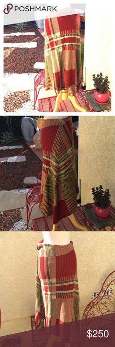 "Ralph Lauren skirt Stunning wraparound skirt. 75% linen 25%cotton.rusty/red color,cream/green/blue. Longest length32"",shortest-length 27"".NWT Ralph Lauren Skirts"