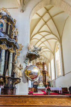 The globe pulpit in the church of St. Nicolas, Znojmo, Moravia, Czech Republic