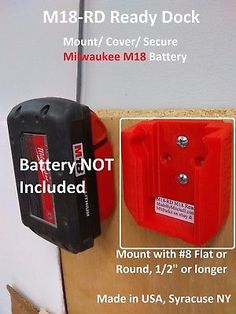 M18 Ready Dock, Cover, Mount, Store Milwaukee Battery, USA  *4 Pack*