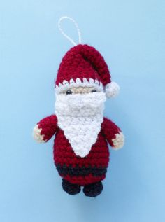 Crochet a sweet little Santa and give him out for gifts, or use as holiday decor!