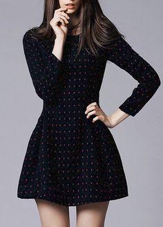 Princess Style Scoop Neck Mini Dress with Zipper