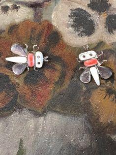 Zuni Bug Pierced Post Earrings in Sterling Silver