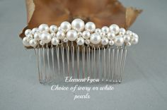 7e0bc9b6b Bridal comb pearl Hair Accessories Wedding hair piece Swarovski white or  ivory pearls Beaded silver comb Veil attachment Tiara Fascinator