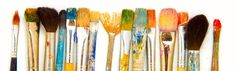 Well worn and used paint brushes