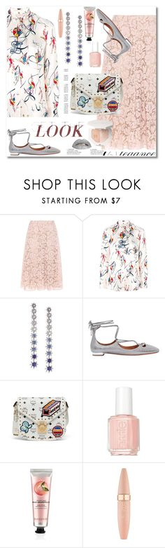 """""""Tory Burch Dancer print blouse"""" by ilona-828 ❤ liked on Polyvore featuring Valentino, Tory Burch, Adriana Orsini, Aquazzura, MCM, Essie, The Body Shop, Maybelline and polyvoreeditorial"""