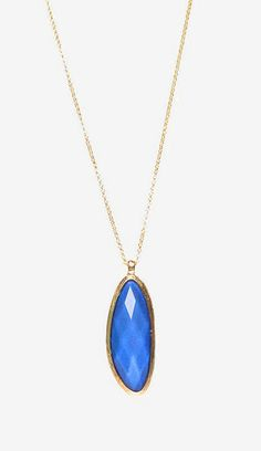 Gold & Blue Faceted Pendant Necklace