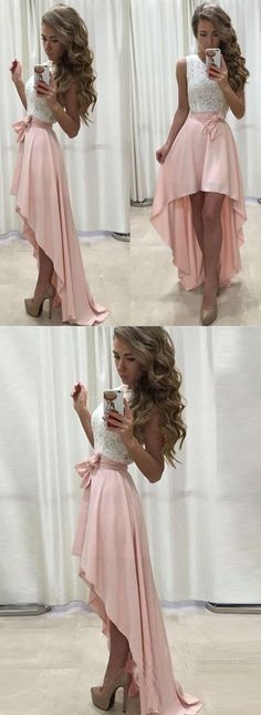 Sleeveless Lace Chiffon Straps A-line Hi-Lo Newest Prom Dress cheap prom dress,prom dresses,prom prom dress dresses for teens Hot-Selling A-Line High-Low Pink Long Prom/Party Dress Prom Dresses 2018, Grad Dresses, Cheap Prom Dresses, Dance Dresses, Evening Dresses, Formal Dresses, Dress Prom, Wedding Dresses, Fancy Dresses For Weddings