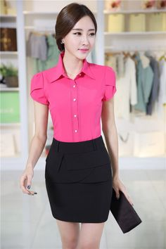 Office outfits, work fashion, womens fashion for work, fashion outfits, e. Womens Fashion For Work, Work Fashion, Fashion Outfits, Secretary Outfits, Uniform Design, Formal Shirts, Office Outfits, Street Style Women, Dress Patterns
