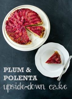 This vegan Plum & Polenta Upside-Down Cake is as pretty as a picture, with juicy plums topping a lusciously lemony polenta and almond cake. Plum Recipes, Fruit Recipes, Dessert Recipes, Recipies, Cake Recipes, Vegan Cake, Vegan Desserts, Easy Desserts, Upside Down Desserts