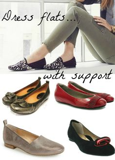 Supportive Dress Flats--see my 6 picks for flattering footwear with support.